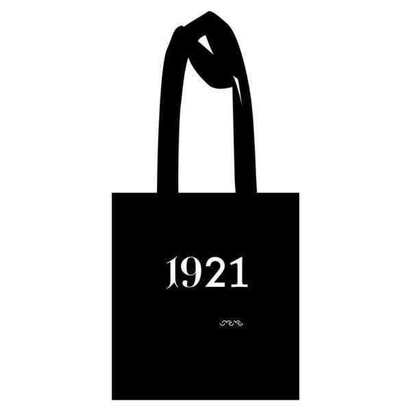 1921 Tote Bag black with white print